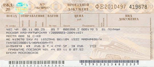 Сайт Авиакасса, ЖД билет